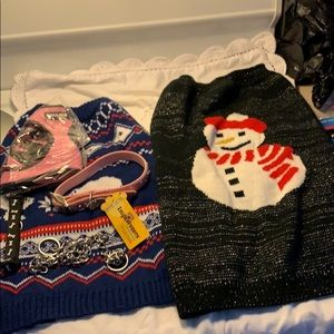 Dog Bundle Snowman Outfit XL Blue Outfit Large etc